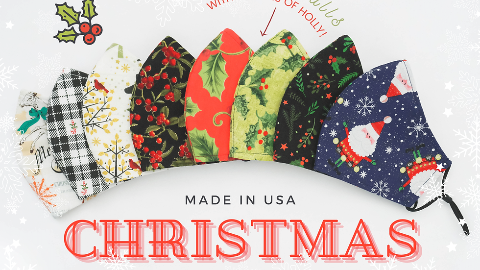 CHRISTMAS HOLIDAY 3LAYER FABRIC FACE MASK, (COLLECTION #6)