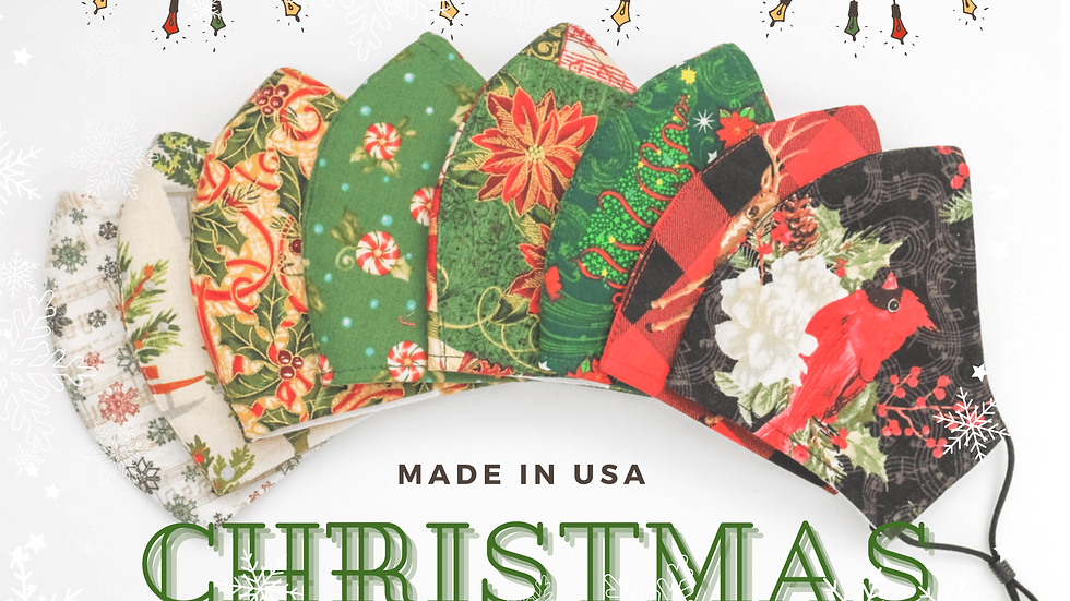 CHRISTMAS HOLIDAY 3LAYER FABRIC FACE MASK, (COLLECTION #7)