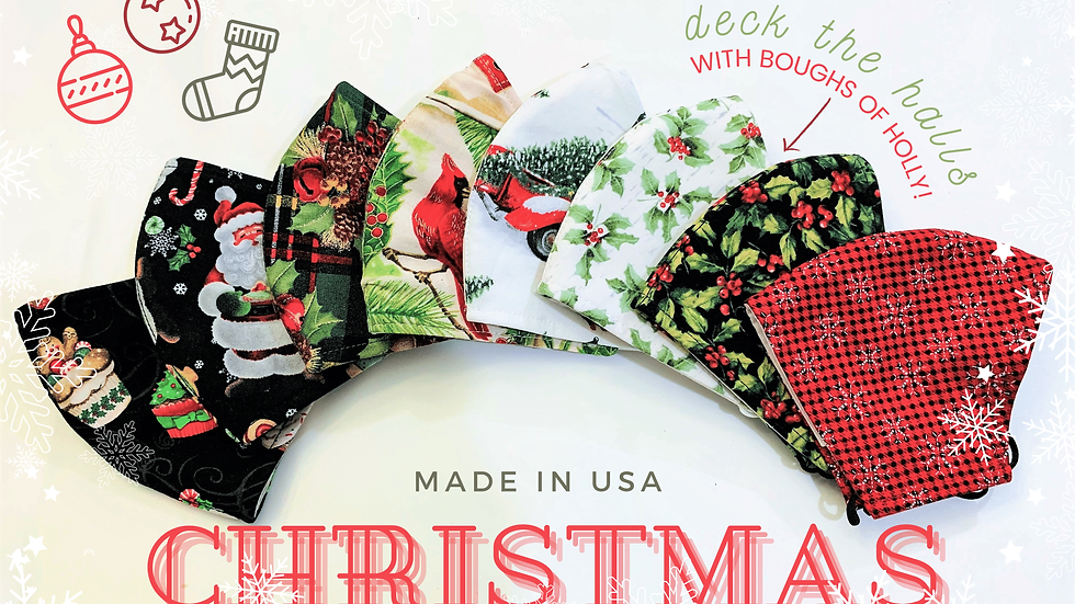 CHRISTMAS HOLIDAY 3LAYER FABRIC FACE MASK, (COLLECTION #3)