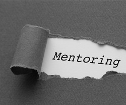 Mentoring word in grey scale