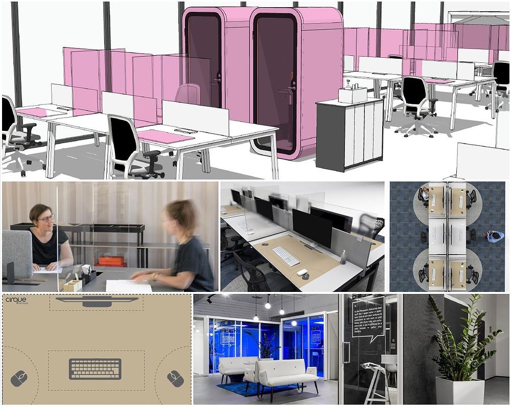 furniture pod, desk screen, covid screens, UV Light, plants, disposable desk mats, covid screen,2m rule.