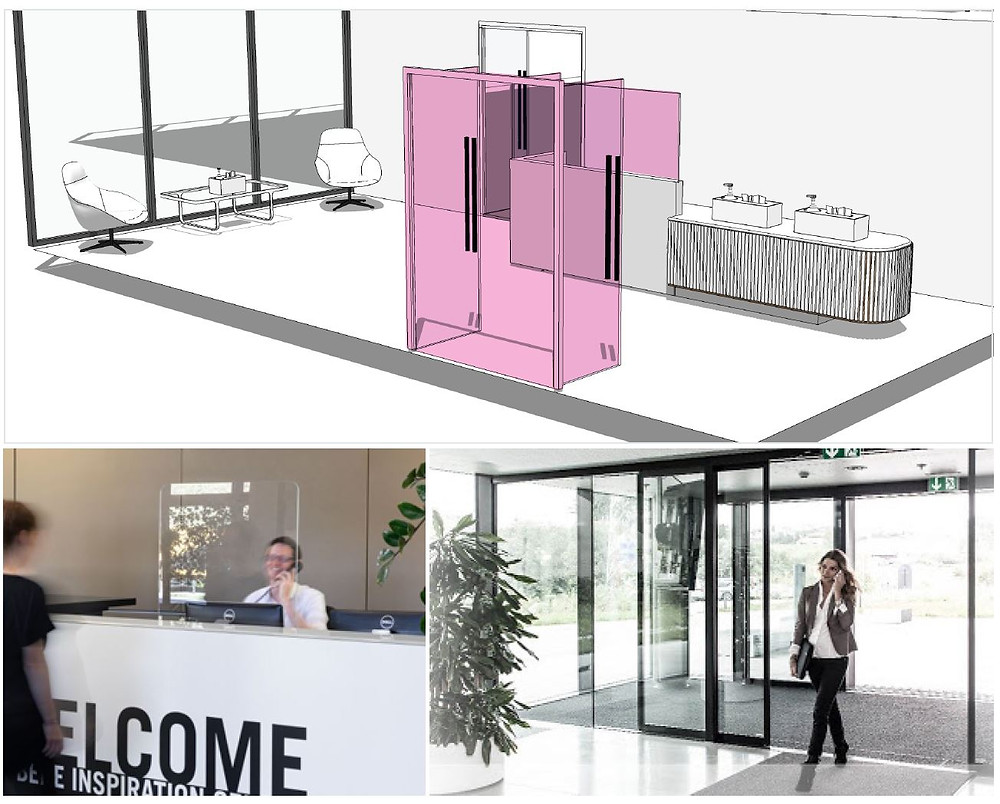 Covid contact entrance system prevents users from touching surfaces.