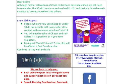 Client newsletter 21st August 2021