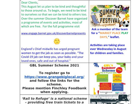 Clients newsletter 7th August 2021