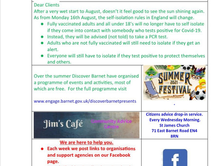 Client newsletter 14th August 2021