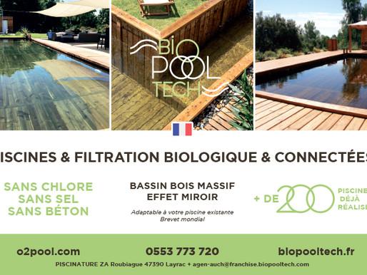 BioPoolTech, votre bassin        en bois massif, sans chlore,   sel, ni béton
