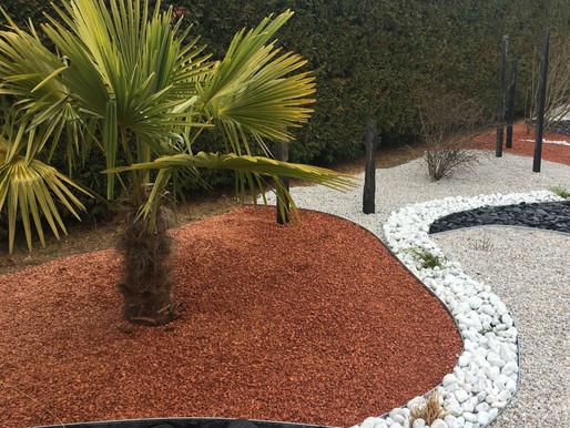 Aménagement d'un jardin décoratif sur gravier