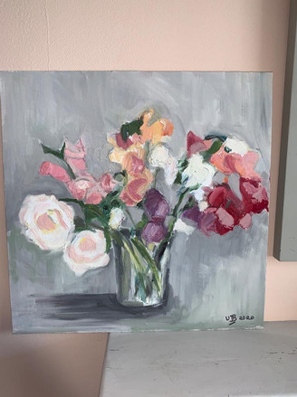 Sweetpeas oil painting Wendy Barber
