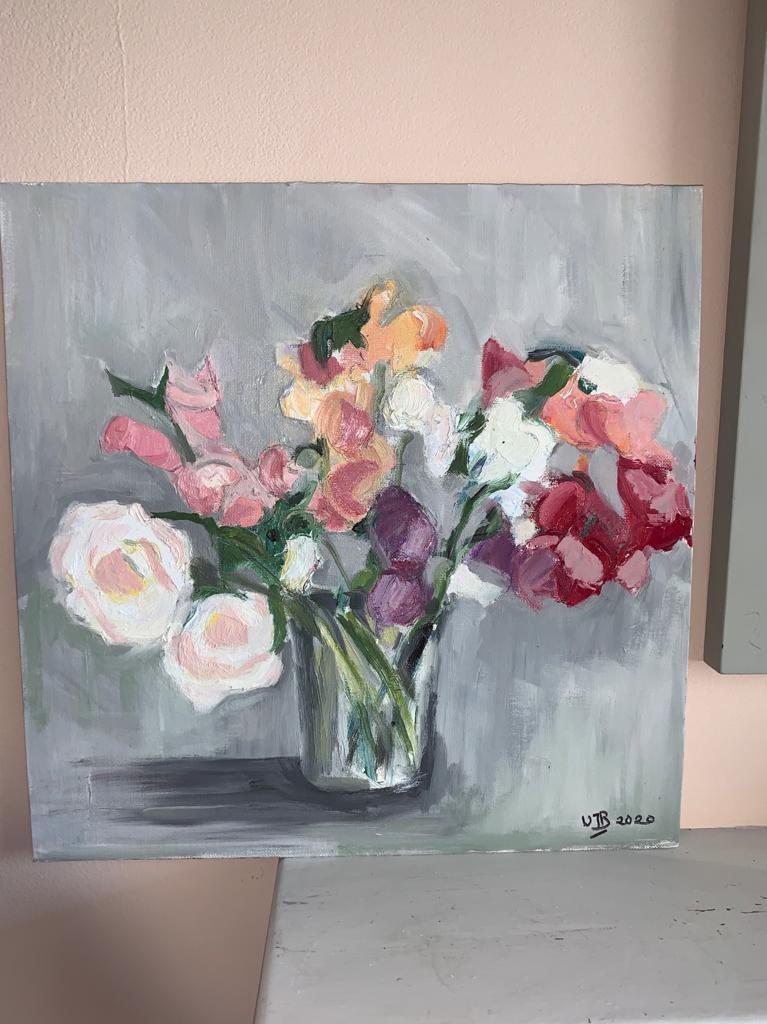 Sweetpeas oil painting Wendy Barber