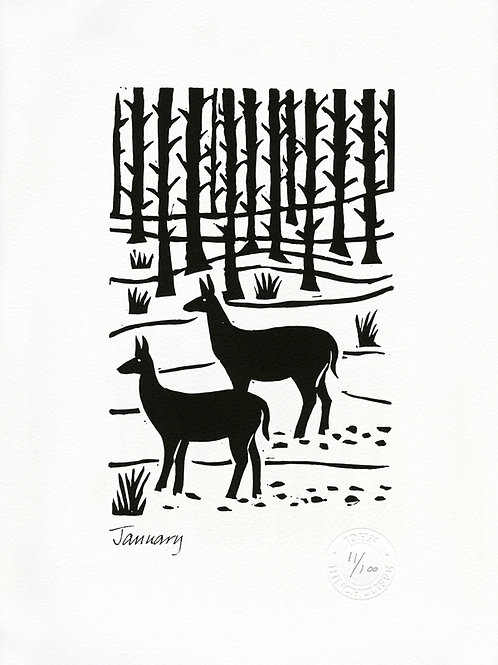 January Lithograph Limited Edition Print