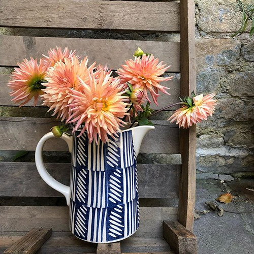 Dahlias in our True Blue jug on the cold