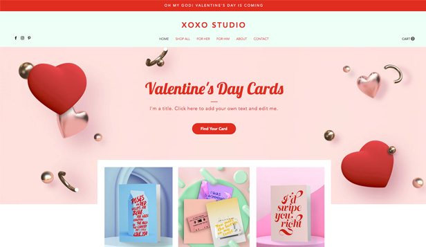Loja Virtual website templates – Valentine's Cards Online Store