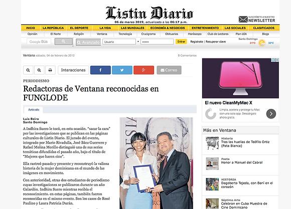 Periodista Indhira Suero recibe reconocimiento en Funglode