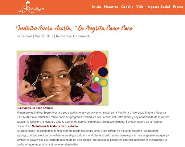 Negrita Come Coco en la web de Miss Rizos