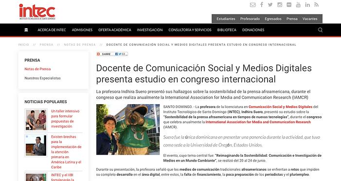 Noticia sobre Indhira Suero en la web de Intec