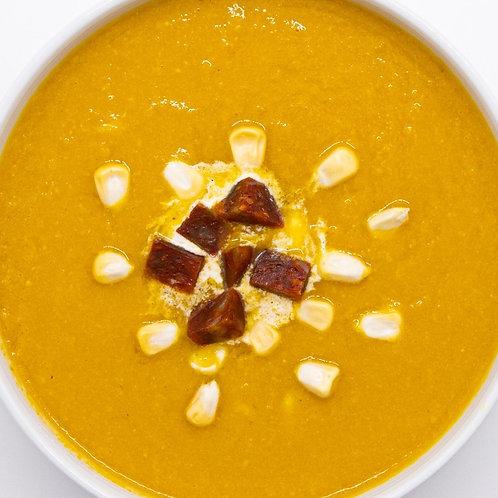 Chorizo, Pumpkin and Corn Soup ⻄班牙燻⾁腸⽟⽶南瓜湯