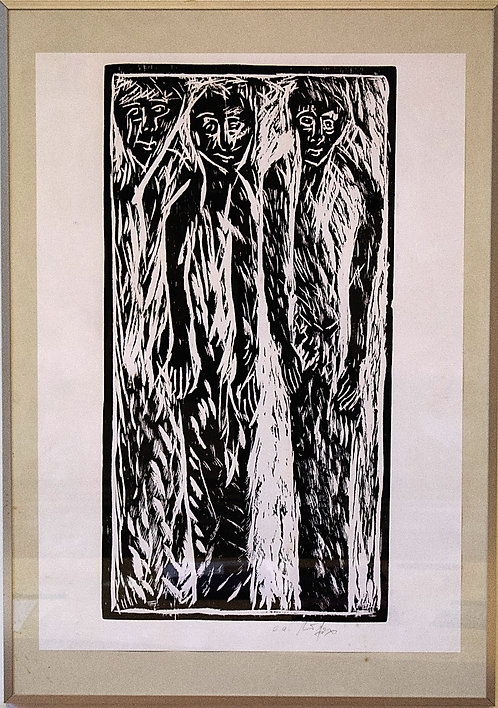 "Anonymous - "" Three Figures"" German Wood Cut"