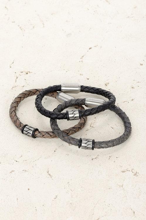 Round Bead Leather Bracelet