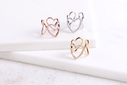 Mae Triple Heart Ring