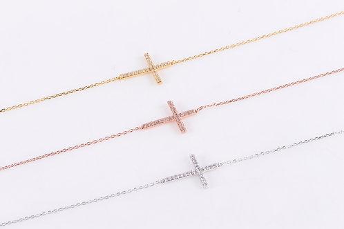 Horizontal Crystal Cross Necklace