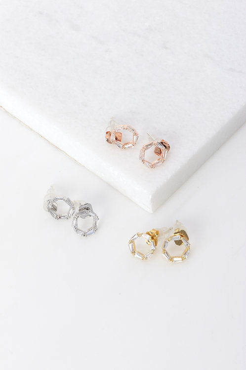 Chelsea Crystal Hexagon Earrings