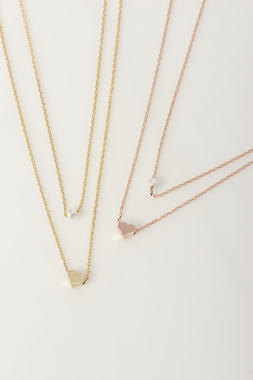 Pearl Heart Layered Necklaces