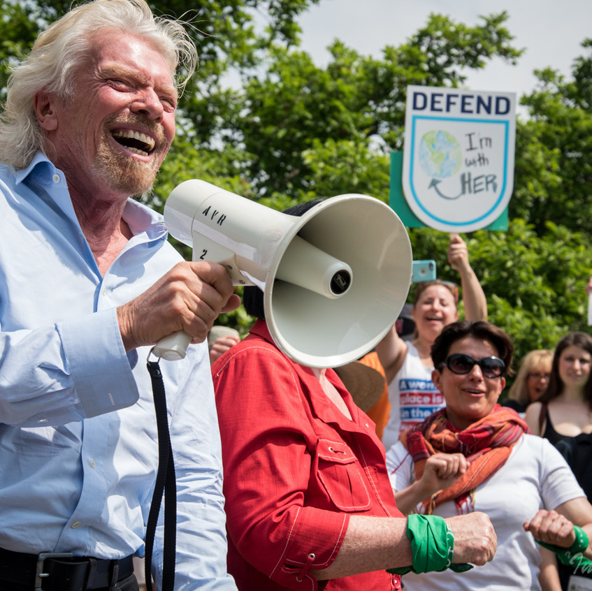 Sir Richard Branson in Climate March