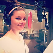 Liz Fye Voiceover Actor In the Studio Recording for a Commercial