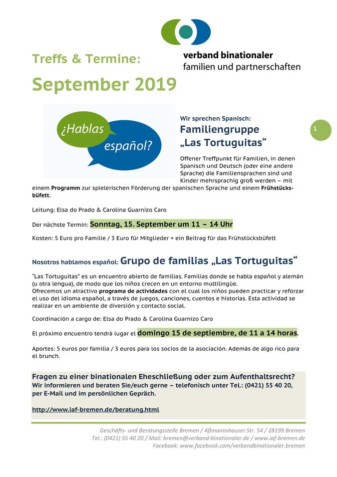 Septemberprogramm des Verbandes für binationale Familie