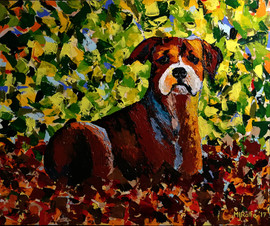 Boxer in the leaves