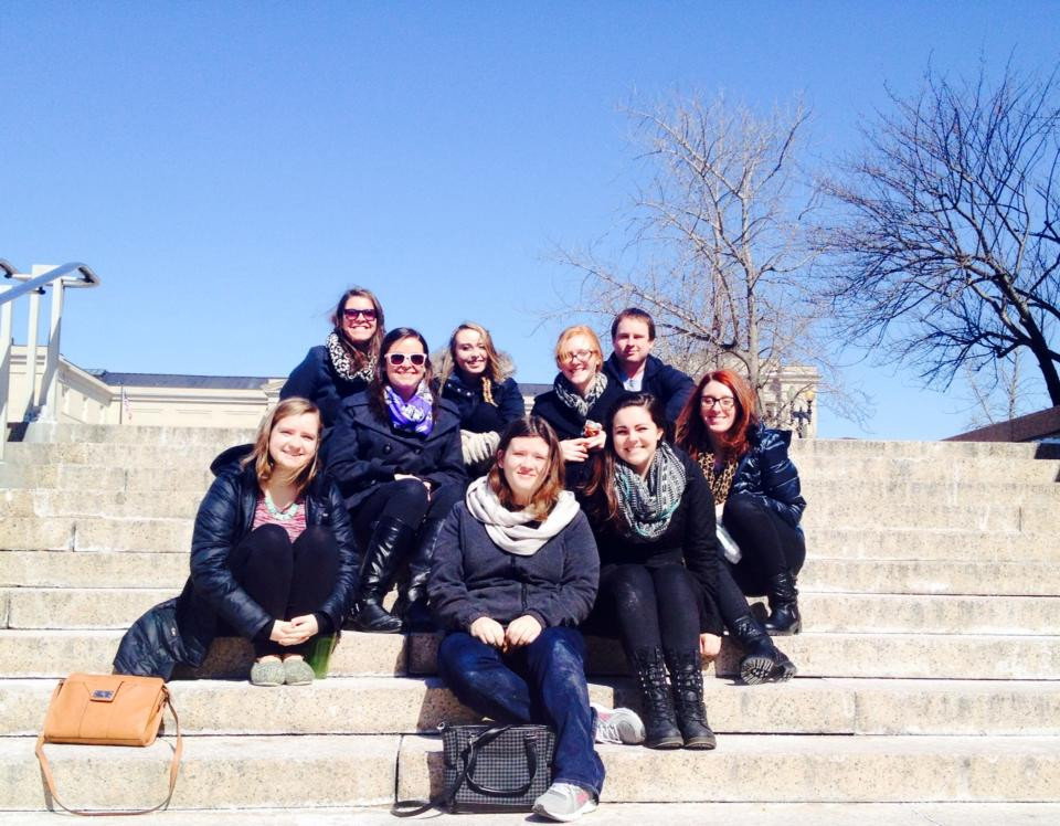 Amanda, front middle, and the rest of the group in Washington D.C.