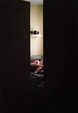contemporary fine art film photograph personal lifestyle portrait photograph lovers lying in bed NYC