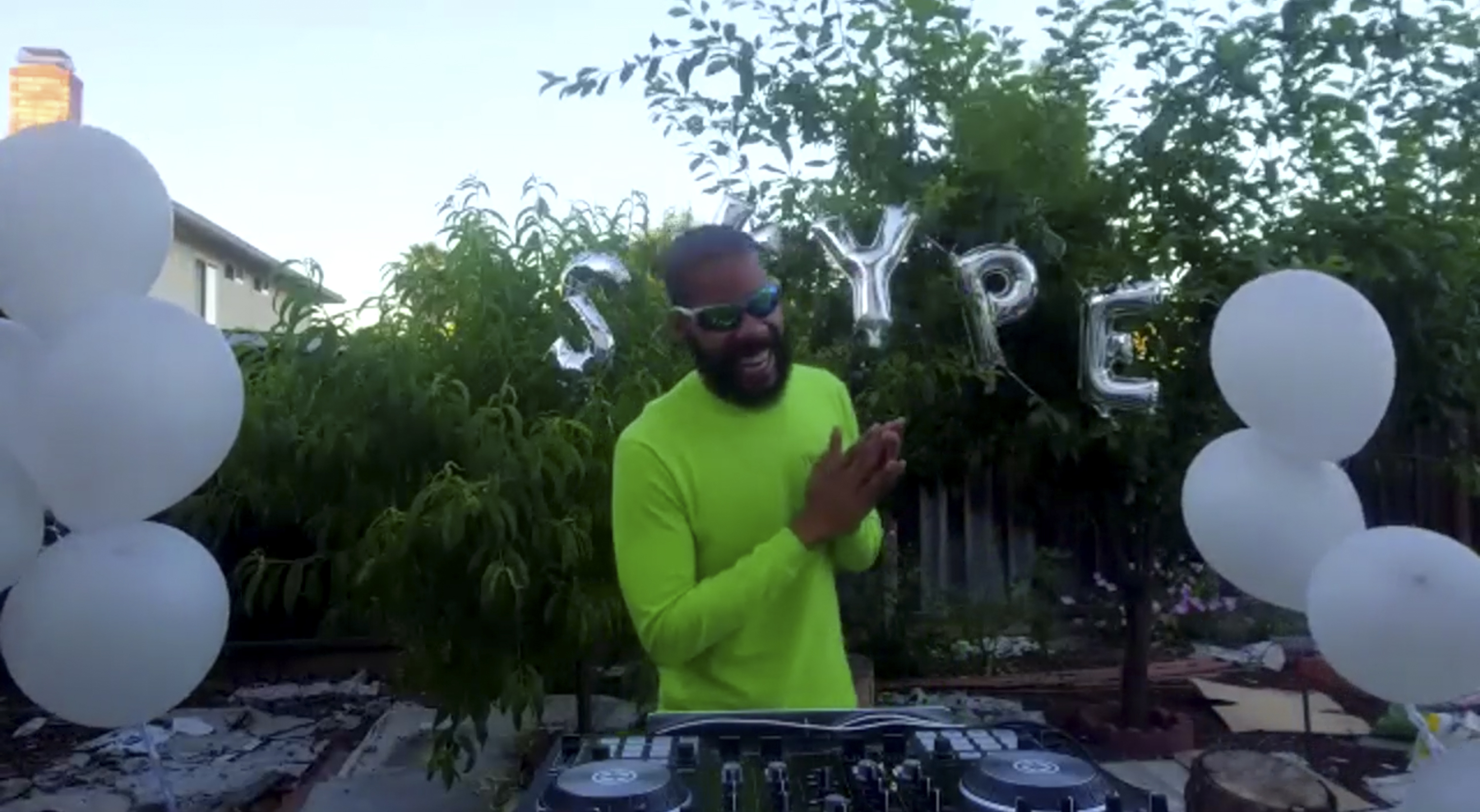 Photograph of musician Skype Williams DJing over zoom for MoMA PS1