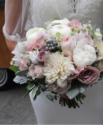 blush and dusky pink wedding flowers