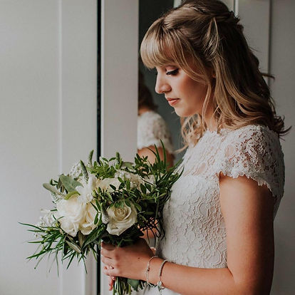 Bride bouquet, wedding flowers in Cheshire. Venue Statham Lodge in Warrington. Wedding florist based in Warrington, covering the North West. White and foliage bride's bouquet, rustic wedding style.