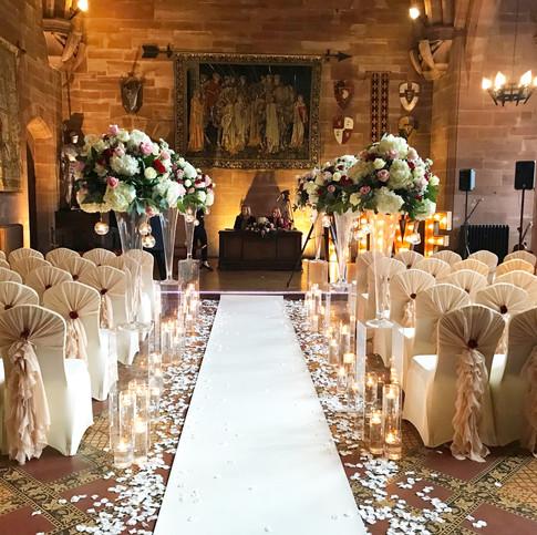 wedding ceremony at peckforton castle