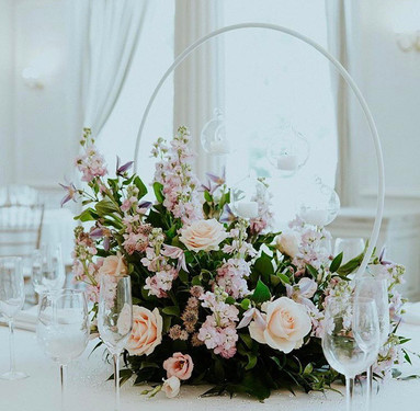 Small floral hoop centrepiece