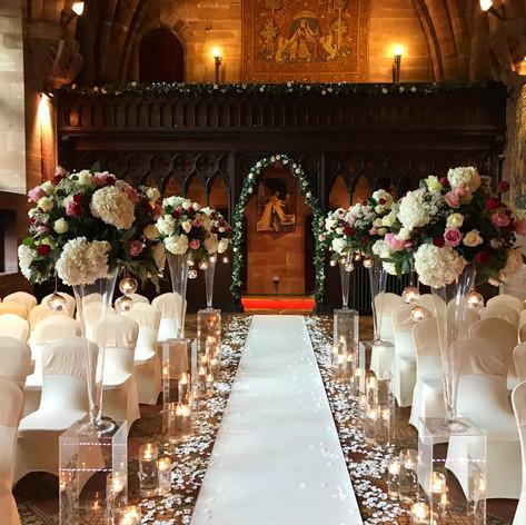 wedding flowers at peckforton castle