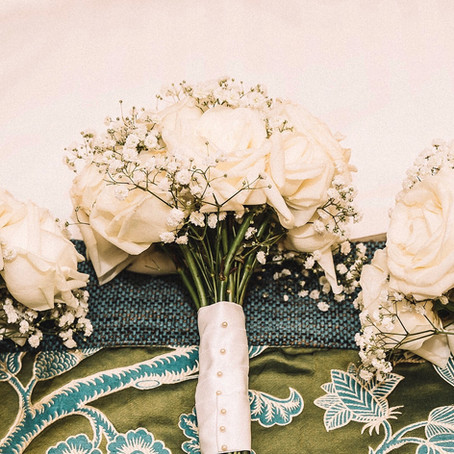 All white rose and gypsophila bridesmaid bouquets at Nunsmere Hall Hotel