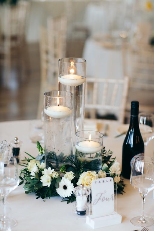 cylinder vase with floating candles