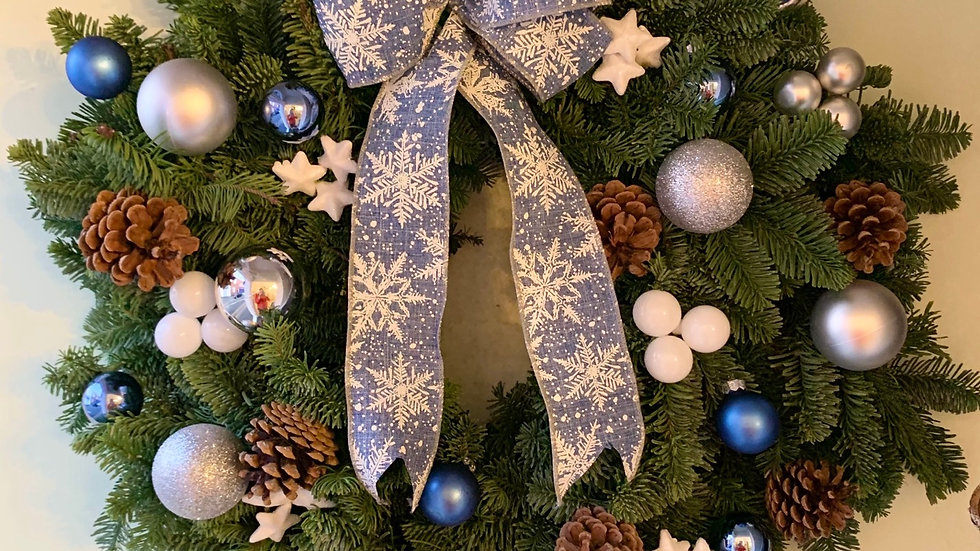 Blue, Silver & White Weath with Bow