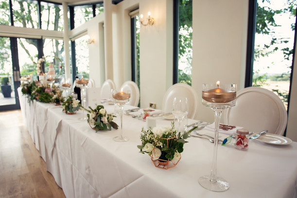 Top table flowers and decoration at West Tower