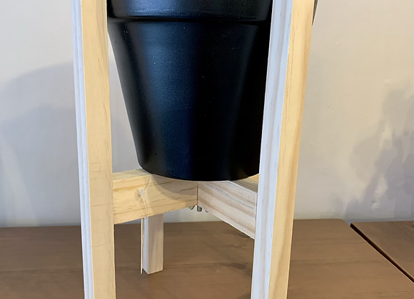 On Trend Black/Wood Plant Pot Stand