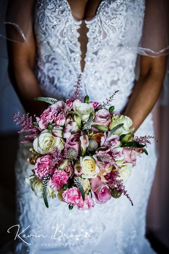 pink wedding bride bouquet