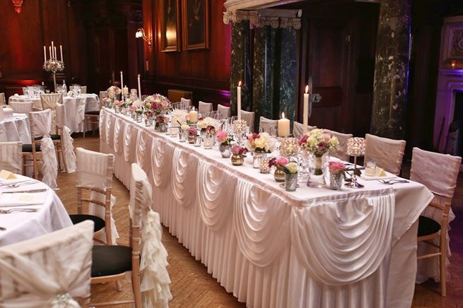 wedding flowers and top table decoration at Thornton Manor