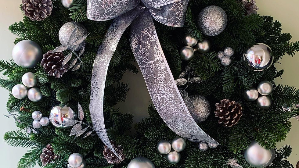 Silver Wreath with Bow