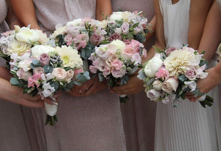 Dusky pink bridesmaid bouquets