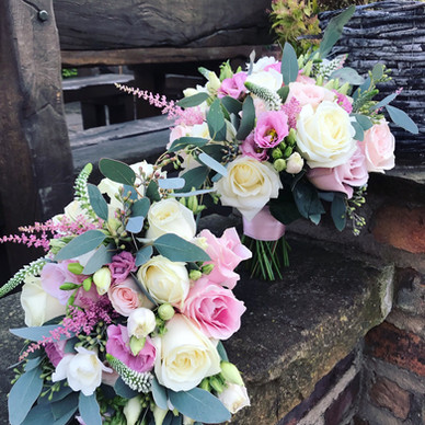 Pink and white wedding bouquets in Warrington