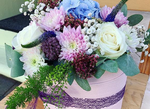 Pastel Pink Heart Flower Hat Box