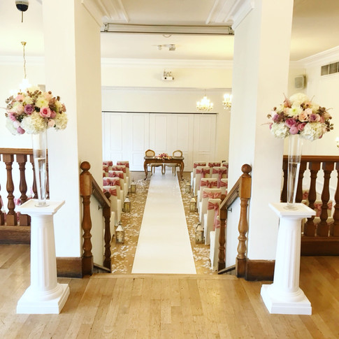 pink wedding flowers and ceremony decoration at west tower